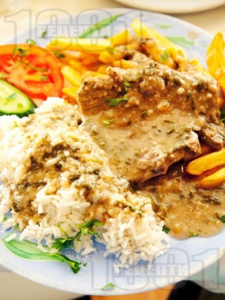 Софрито - традиционно критско ястие с телешки стекове и сос от бяло вино - снимка на рецептата